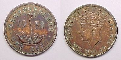 1938 Newfoundland Cent Penny Very Fine VF