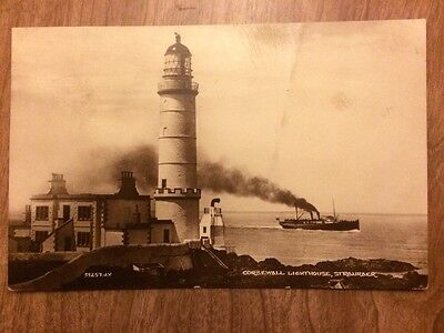 Black & White Stevenson Lighthouse Postcard, Corsewall Lighthouse, 1927