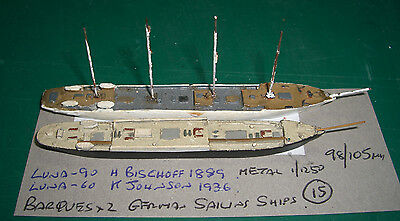 Barques x 2 German Sailing Ships by Luna, Scale 1/1250