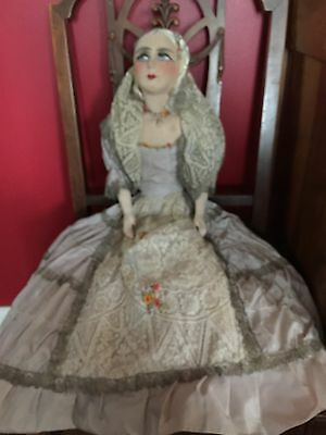 Gorgeous Antique French Boudoir Doll With Extravagant Lace Dress, Ribbon Roses.