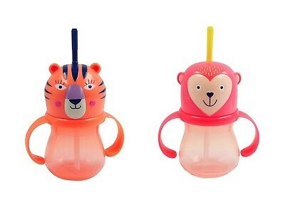NEW Target TODDLER Straw SIPPY CUP 9.5 oz Pink MONKEY Rotating Handles BPA FREE