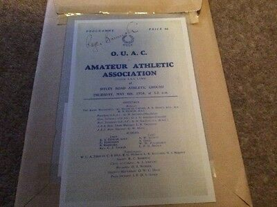 Pre-print of Roger Bannister autograph on programme