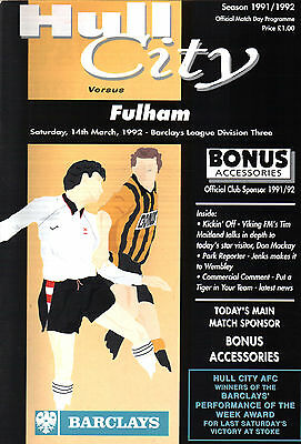 1991/92 Hull City v Fulham, Division 3, PERFECT CONDITION