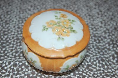 Antique Vintage Porcelain Vanity Powder Trinket Jewelry Box! Hand Painted!