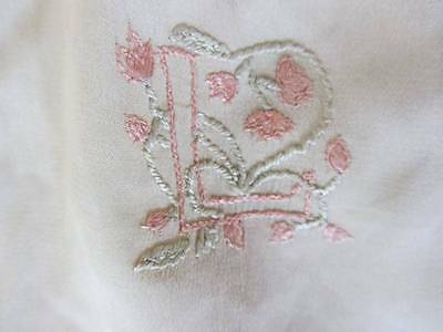 antique cream silk baby dress embroidered initial 'L' 1920's christening