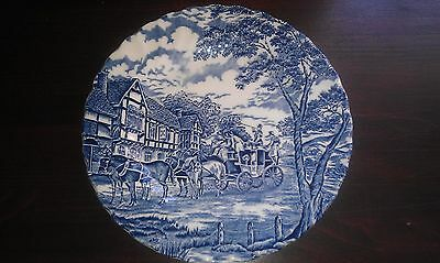 Myott Royal Mail Staffordshire 9'' Plate, Coach and Horses Design, Blue/White