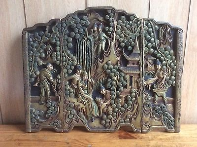 "Antique Chinese Carved Wood Panels/Stand, 15""X12"""