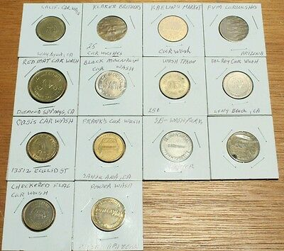 Lot/14 Car Wash Tokens/California/Arizona/Germany/Kaelin's 25 Washes Token