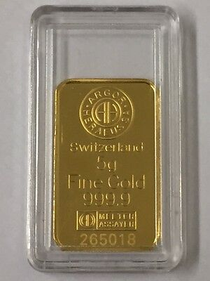Argor - Heraeus 5 Gram Gold Bar 999.9 Purity Of Gold Pre Owned