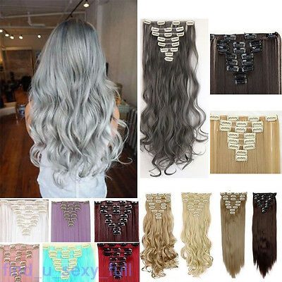 Synthetic Clip in Hair Pieces Hair Extensions Full Head 8 Pieces Long Remy #_#