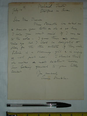 """Original used letter to Mrs France? signed """"Anne Muckle""""? Stratford Theatre (#Q)"""