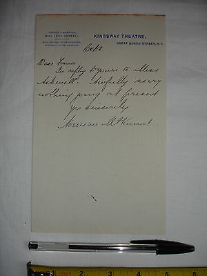 """Used theatrical letter to """"Dear France"""", signed Norman McKinnel -Kingsway (#T)"""