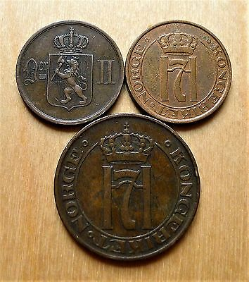 Norway Coins, 1889 + 1936 2 Ore, 1911 5 Ore Coppers.