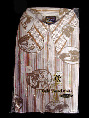 Mens Shirt Vintage 1970S Transportation Print NOS  L