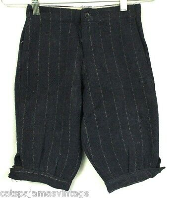 """Antique Boys Knickers Knee Pants Wool Striped Victorian 22"""" Waist Blue Childrens"""