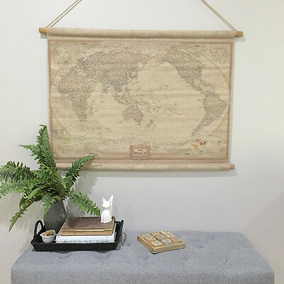 Vintage Style Hanging Linen World Map/Neutral Antique Cloth Wall Art/Painting