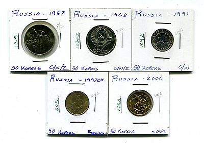 Russia : Lot of 5 different 50 Kopeks coins  1967 - 2006