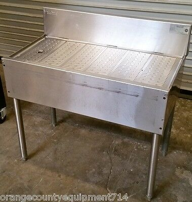 "Krowne 36"" Drainboard Under Bar Stainless Steel 18-GS36 #4512 Back NSF Glass"
