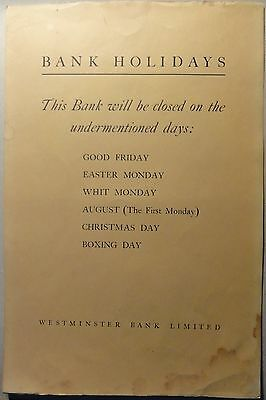 Poster. Westminster Bank Ltd annual notice of Bank holidays