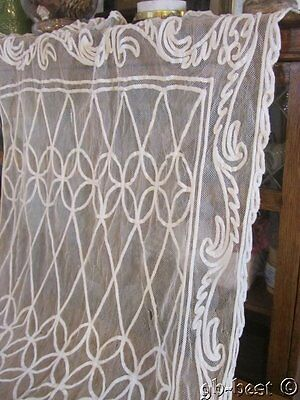 """Antique French Tambour NET Lace Curtain Panel WEDDING Veil 78"""""""