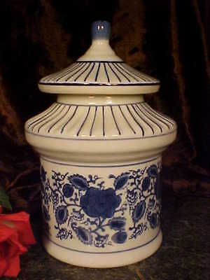 BEAUTIFUL HP Porcelain COBALT White Cookie Jar PAGODA SHAPE CUTE!