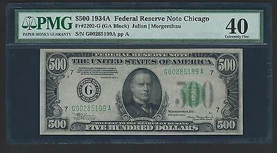 1934A $500 Five Hundred Dollar Currency Cash Note Money PMG EF 40