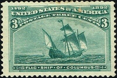 US Sc# 232 *MINT OG H* { JUMBO -XF- CENTERED } 3c COLUMBIAN EXPO OF 1893 SERIES