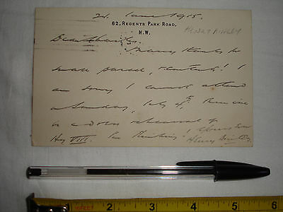 Used letter/postcard dated 1915 to C. V. France, signed by Henry Ainley (#Z2)