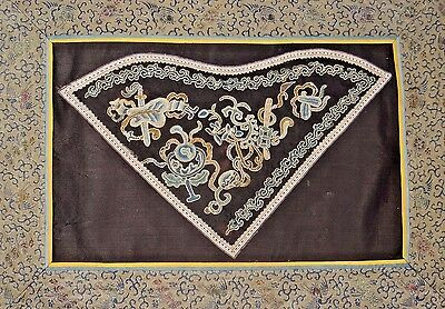 19th C. Qing [Ching] [Ch'ing] Dyn. Chinese Silk Embroidered Peking Stitch Panel