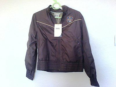Official Fifa Licensed Kids Brazil 1950 Fifa Badge Logo Waterproof Brown Jacket