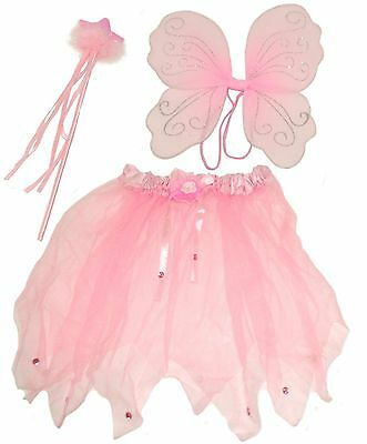 Girls Pink Fairy Wings Wand and Tutu Set Fancy Dress Costume Angel Dress