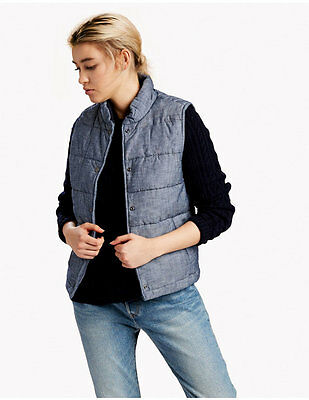 NWT LEVI's Chambray Puffer VEST Mountain Blue JACKET Casual 263290002 Womens L