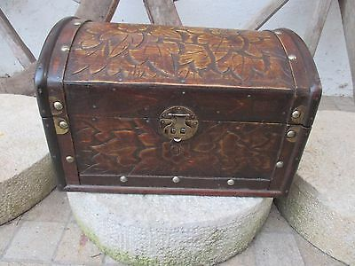 Vintage European Handmade Floral Carved Wood Trunk Chest Hinged Large Box