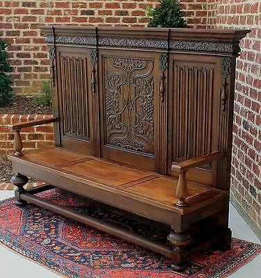 Antique French LARGE Oak HIGHLY CARVED Bench Banquette Hall Settee Pew 19thC
