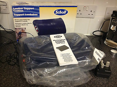 NEW Scholl Massaging Lumbar Support Cushion with Heat and Massage