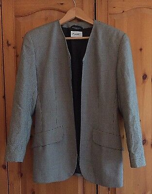 Vintage Planet Black And White Monochrome Check Dogtooth Jacket Blazer Size 10
