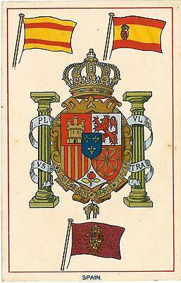 SPAIN Espana Flag Coat of Arms Vintage Colour PC Merchant Marine War Ensign 1910