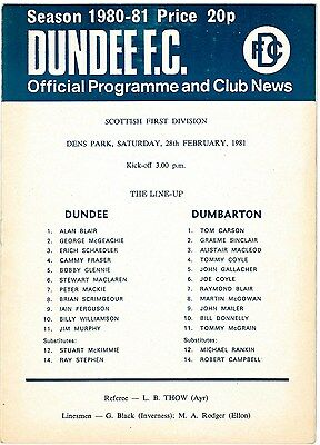 DUNDEE 2 Programmes Rangers Dumbarton Scottish Cup Replay & League 1981 1984