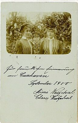 2 Ladies Maritime Uniform? Vintage Early Real Photo PC Cuxhaven 1900