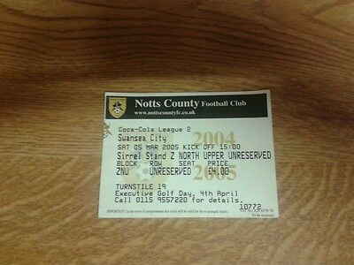Notts County V Swansea City Used Ticket 5Th March 2005 Swans Promoted