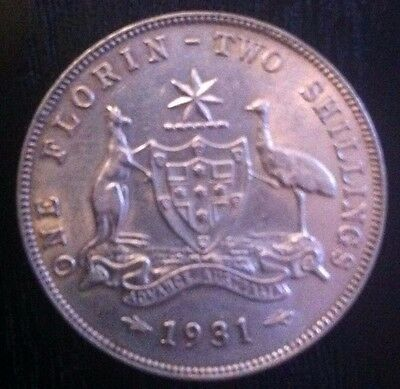 1931 Australian One Florin - Two Shillings Silver Coin