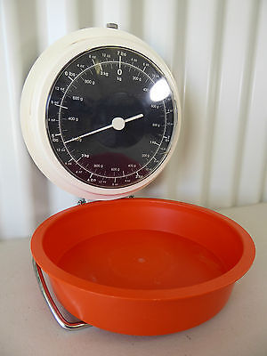 Vintage PRESTIGE Wall Scales - Made in West Germany Orange Tray 3kg 12oz