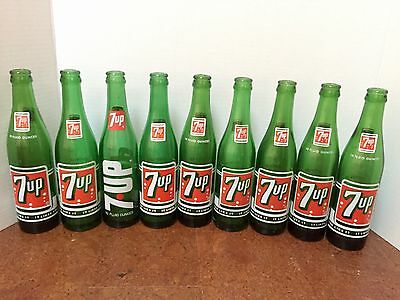 Vintage 7-UP - 9 Green Soda Bottles.10 Fluid Ounces. Heavy!!