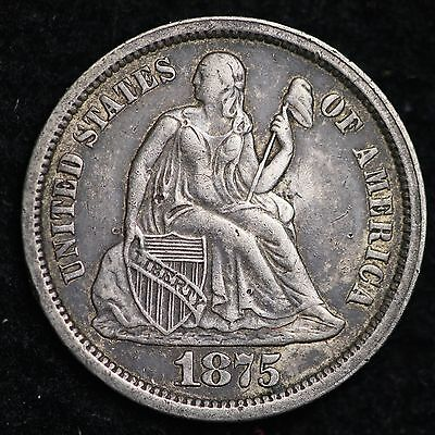 1875-S ABOVE BOW Seated Liberty Dime CHOICE XF+ AU FREE SHIPPING E119 ACH