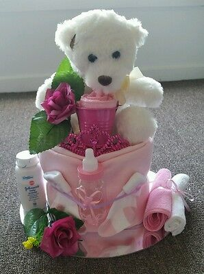 Baby nappy cakes-baby shower-baby girl-pink-christening-teddy bear-