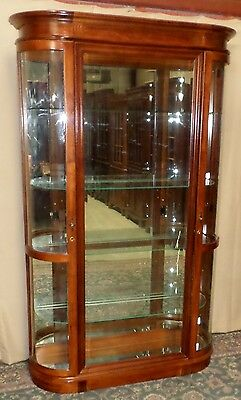 PULASKI CHERRY CURIO CABINET Curved End Glass Lighted Display Side Load #11210 2