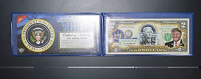 Genuine Uncirculated Two($2) Dollar Bill Colorized with  Donald Trump