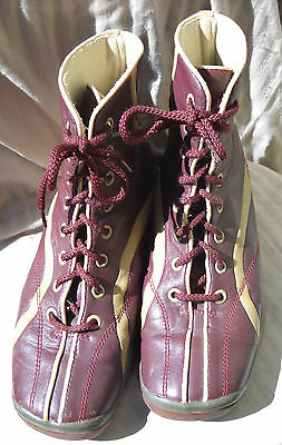 Vintage hi high top sneakers athletic boots leather laceup womens size 38.