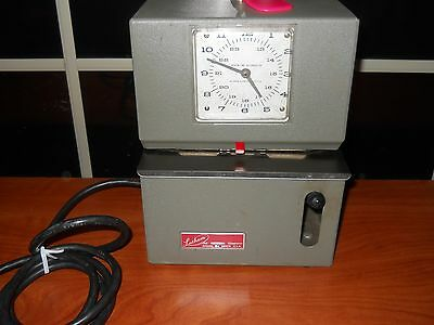 Vintage LATHEM Time Recorder Time Punch Clock with Key WORKS!!