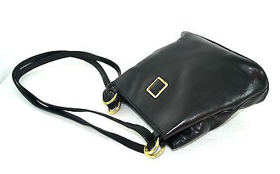 Anne Klein For Oroton Black Genuine Leather Evening / Shoulder Handbag